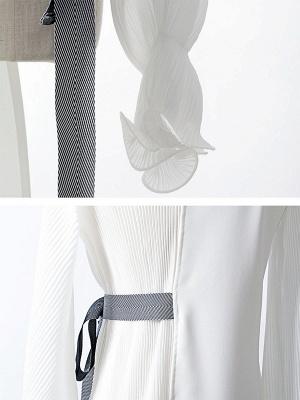 Frill Sleeve Casual Asymmetrical V neck Ruffled Folds Coats_8