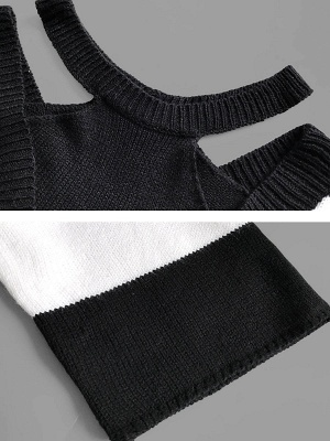Black-white Crew Neck Shift Long Sleeve Solid Sweater_5