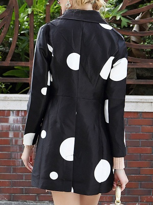 Black Polka Dots Long Sleeve Casual Coat with Brooch_3