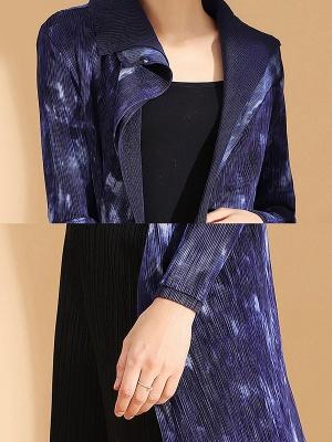 Purple Reversible Printed Pleated Coat_6