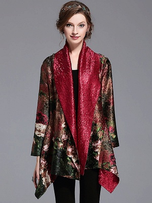 Green Printed Asymmetrical Vintage Reversible Crinkled Coat_1