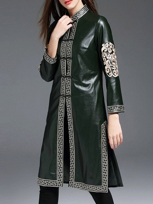 Green Buttoned PU Stand Collar Embroidered Coat_4