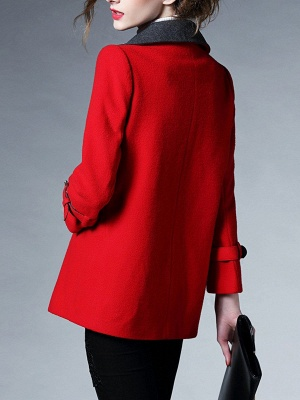 Red Shawl Collar Solid Long Sleeve Casual Coat_3