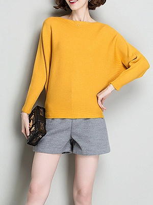 Shift Solid Batwing Bateau/boat neck Casual Sweater_4