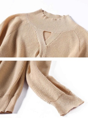 Solid Casual Long Sleeve Cutout Turtleneck Sweater_10