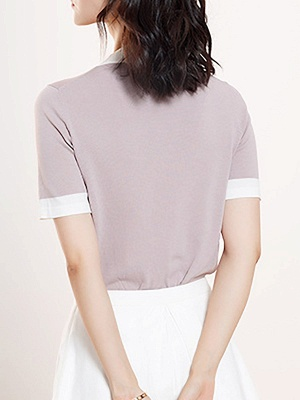 Crew Neck Casual Knitted Short Sleeve Summer Sweater_1