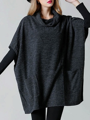 Batwing Cotton Pockets Casual Shift Sweater_2