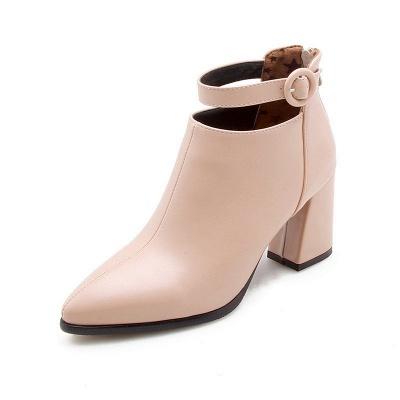 Chunky Heel PU Daily Tie Round Toe Boots_9