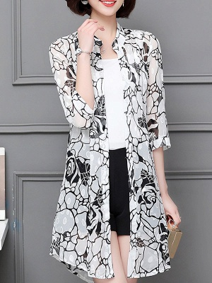 3/4 Sleeve Casual Chiffon Abstract See-through Look Printed Coat_1