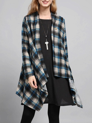 Checkered/Plaid High Low Casual Long Sleeve Coat_6