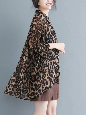 As Picture Casual Shift Printed Half Sleeve Coat_6