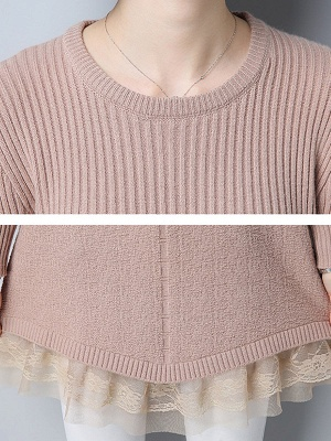 Long Sleeve Solid Casual Crew Neck Cotton Sweater_11