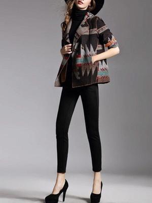 Khaki 3/4 Sleeve V neck Cotton Buttoned Coat_5