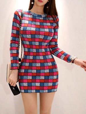 Multicolor Casual Checkered/Plaid Crew Neck Long Sleeve Sweater_7