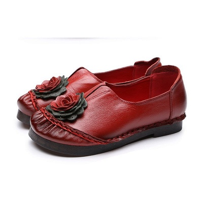 Flower Round Toe Casual Leather Loafers_1