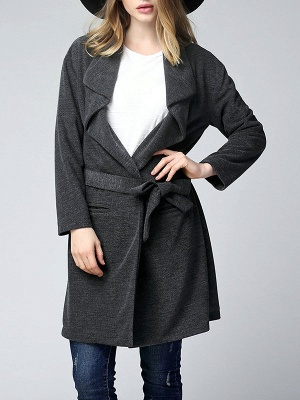 Gray Long Sleeve Casual Solid Pockets Coat_7