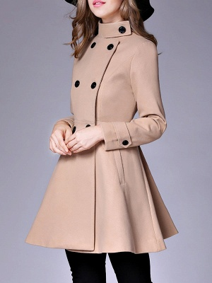 Long Sleeve Casual Wool Stand Collar Coat_2