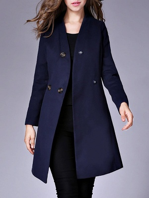 Casual Buttoned Solid Long Sleeve Coat_3