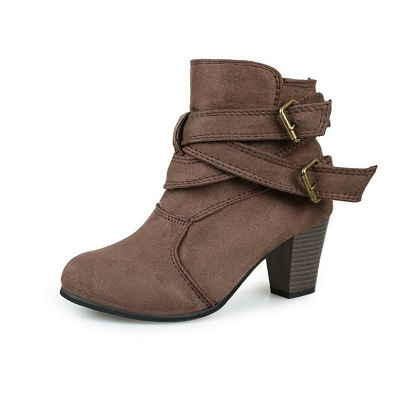 Suede Buckle Chunky Heel Daily Elegant Round Toe Boot_9