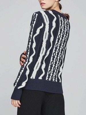 Navy Blue Cable Long Sleeve Casual Geometric Sweater_3