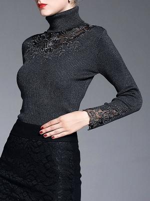Shift Casual Long Sleeve Paneled Plain Sweater_4