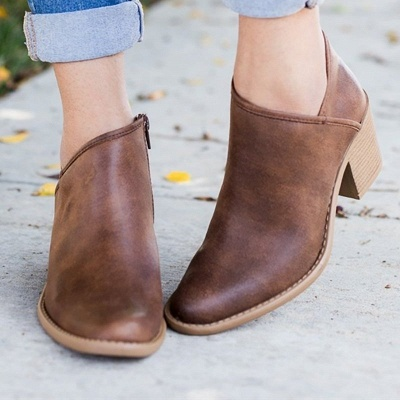 Womens Fashion Ankle Zipper Pointed Toe Chunky Booties_1
