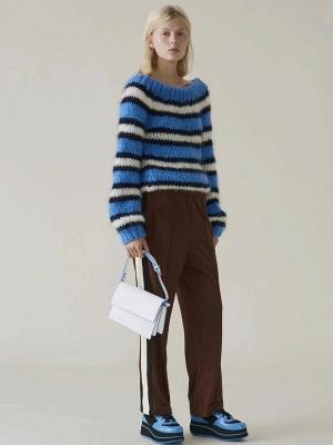 Striped Printed Bateau/boat neck Casual Sweater_2