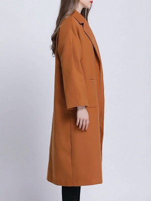 Brown Pockets Shift Solid Casual Long Sleeve Coat_7