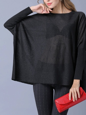Solid Batwing Casual Knitted Crew Neck Sweater_9