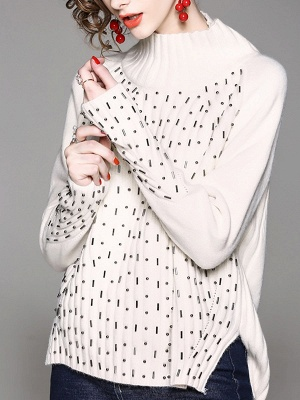 Casual Solid Long Sleeve Sweater_8