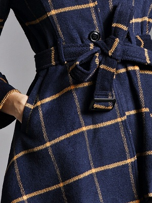 Navy Blue Bow Casual Stand Collar Checkered/Plaid Coat_6