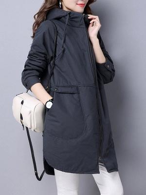 Zipper Hoodie Pockets Shift Long Sleeve Coat_4