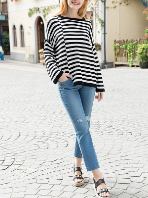 Black-white Long Sleeve Cotton Shift Printed Sweater_4