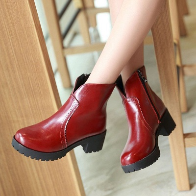 Fall PU Chunky Heel Round Toe Boot_1