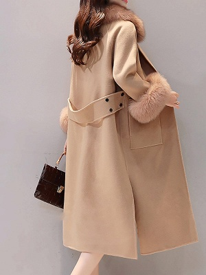 Long Sleeve Shawl Collar Paneled Pockets Slit Fluffy Coat_4