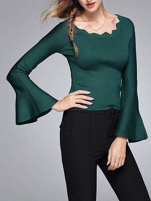 Sheath Solid Casual Crew Neck Frill Sleeve Sweater_4