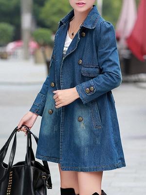 Blue Shift Long Sleeve Pockets Buttoned Shirt Collar Coat_5