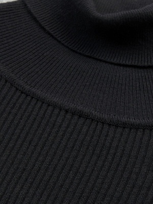 Turtle Neck Casual Bell Sleeve Pleated Sweater_9