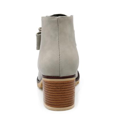 Daily Chunky Heel Bowknot Round Toe Elegant Boots_9