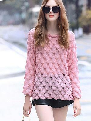 Pink Long Sleeve Geometric Paneled Shift Sweater_4