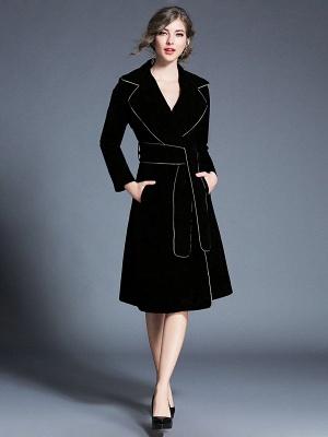 Black Work Lapel Shift Pockets Long Sleeve Coat_5