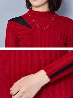 Solid Stand Collar Long Sleeve Casual Sheath Sweater_13