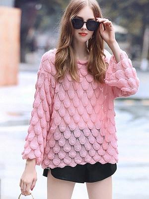 Pink Long Sleeve Geometric Paneled Shift Sweater_1