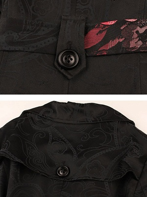 Black Floral Casual Long Sleeve Pockets Buttoned Jacquard Coat_6