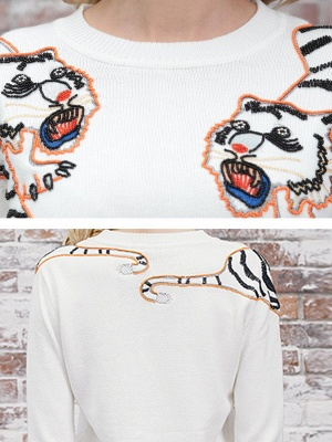 Long Sleeve Embroidered Crew Neck Casual Sweater_7