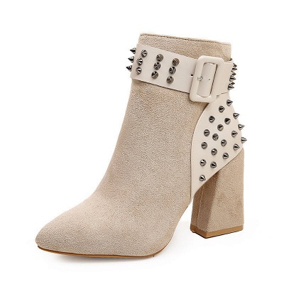 Suede Chunky Heel Daily Lace-up Rivet Boots_7