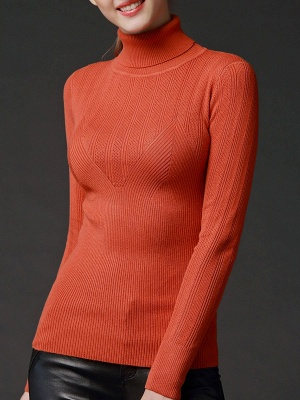 Long Sleeve Knitted Casual Sweater_1