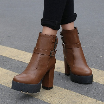 Daily Chunky Heel Zipper Round Toe Buckle Boots_10