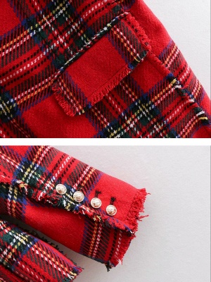 Red Work Checkered/Plaid Printed Buttoned Pockets Coat_5