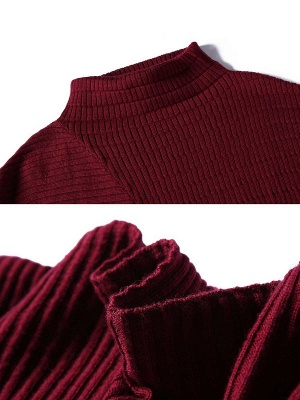 Casual Shift Ribbed Batwing Stand Collar Sweater_7
